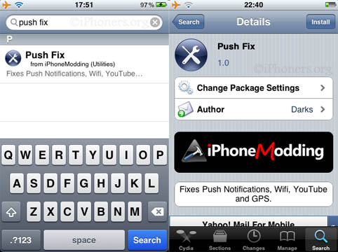 Push Fix Search Install