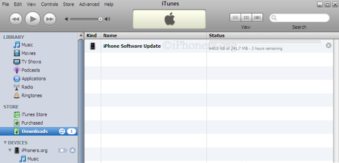 Downloading new iPhone software