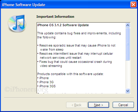 Important Information regarding iPhone Software Update