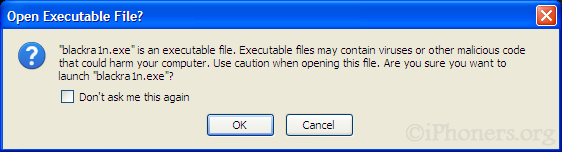 Open executable file pop-up