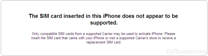 The SIM card inserted in this iPhone does not appear to be supported