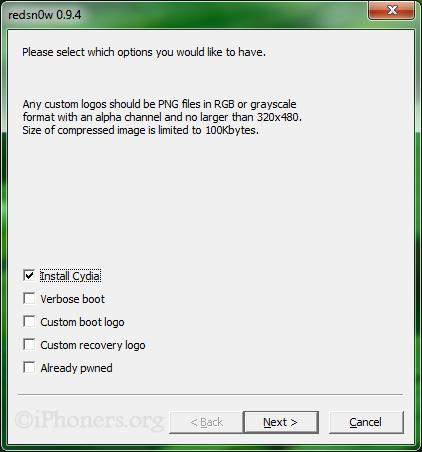 redsn0w 0.9.4 Install Cydia