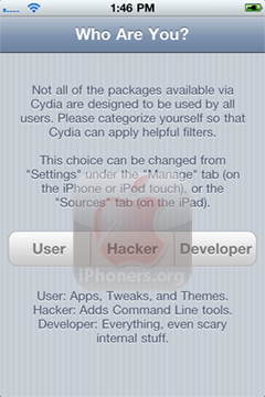 Cydia asking Who Are You