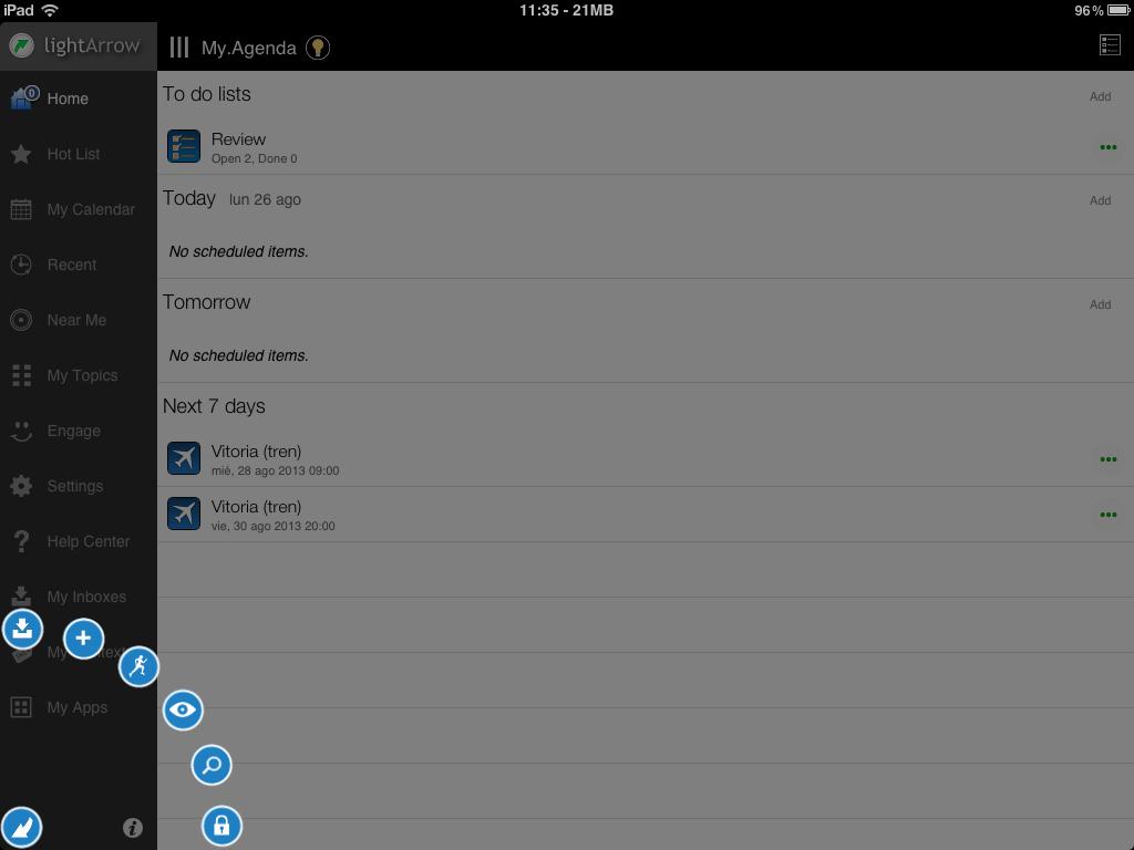 Arc spread menu in My.Agenda Planner