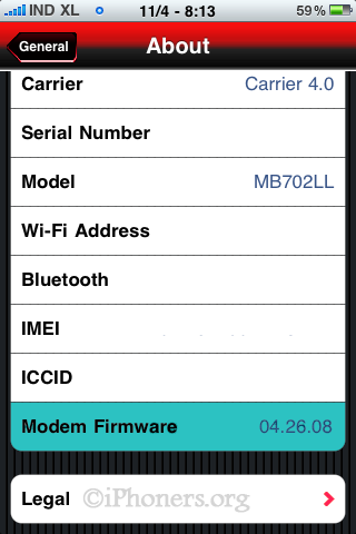 iPhone Baseband Version