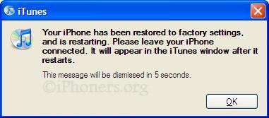 iPhone has been restored