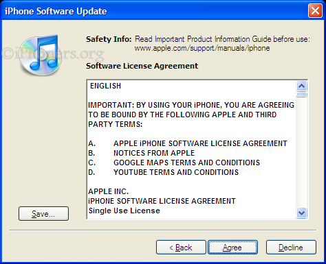 iPhone Software Update License Agreement