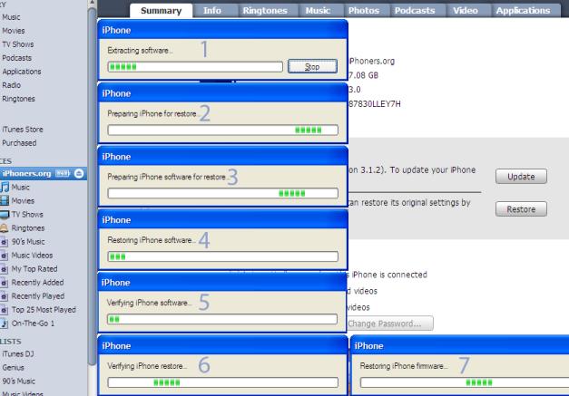 Restoring iPhone software in progress