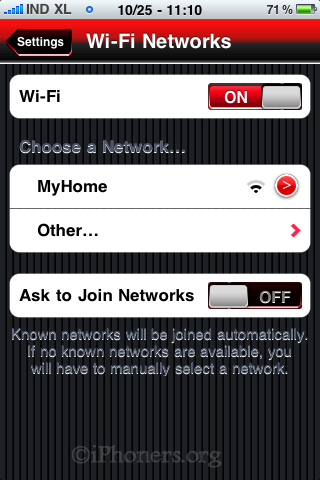 Choose the desired Wi-Fi network on iPhone