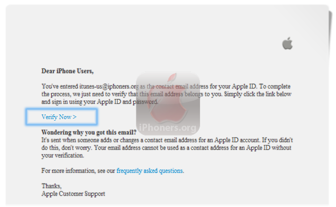 Verify Email Address from iTunes