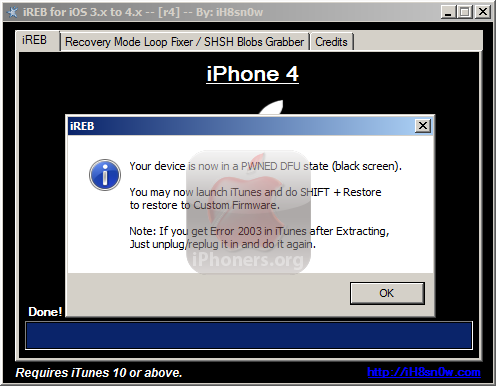 iReb PWNED DFU state (black screen)