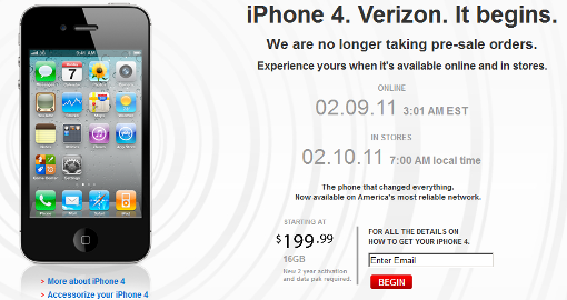 iPhone 4 Verizon Sold out