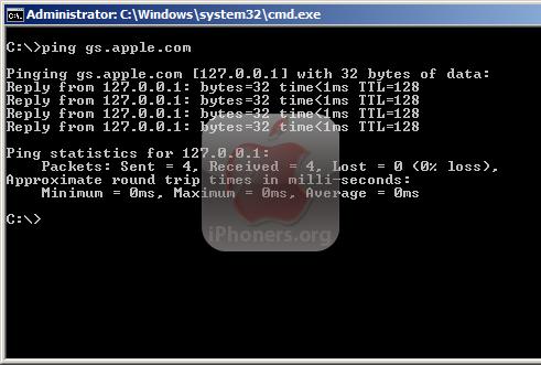 ping gs.apple.com 127.0.01