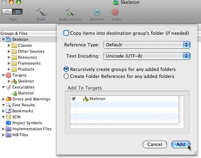 """Screenshot showing which """"add to project"""" options are selected when adding a cross-project reference in Xcode."""