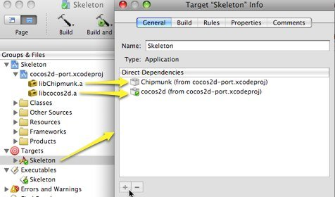 Screenshot showing an Xcode executable target being configured to depend on static libraries that are built from a cross-project reference.