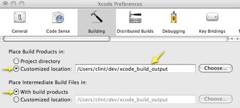 Screenshot showing how the Xcode preference dialog and how to configure Xcode to use a global build output directory.