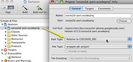 """Screenshot showing the Xcode """"Project Info"""" dialog for a project added via cross-project reference."""