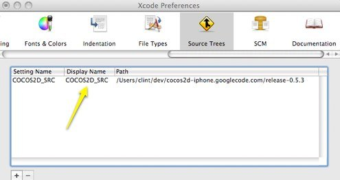 """Screenshot showing the """"Source Tree"""" settings tab within Xcode preferences."""