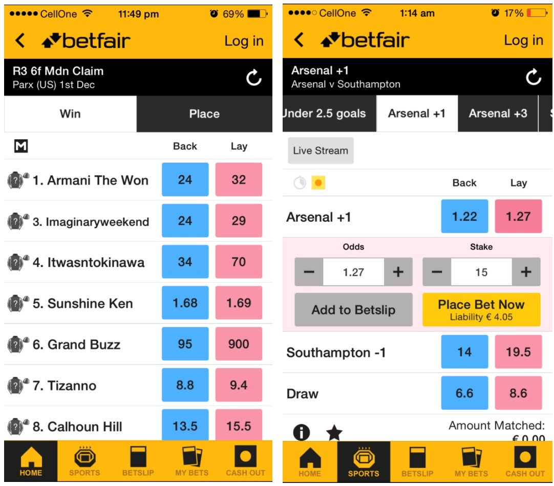 betfair bookmakers on
