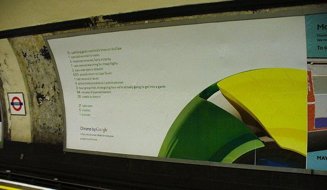 An advertisement for Google Chrome on the London underground