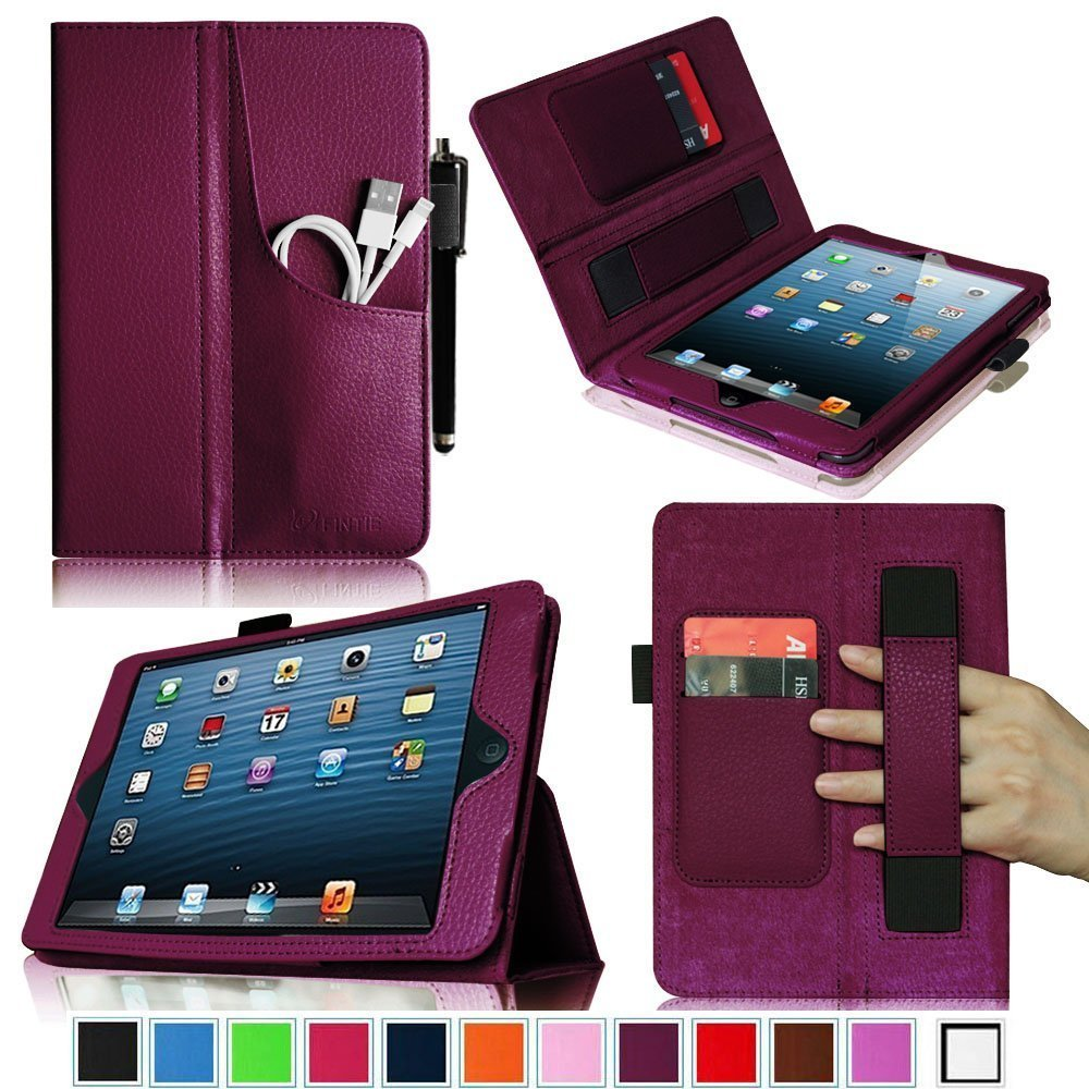 Fintie (Purple) Folio Plus Leather Case Cover with Elastic Hand Strap - iPad Mini pocket $14.99