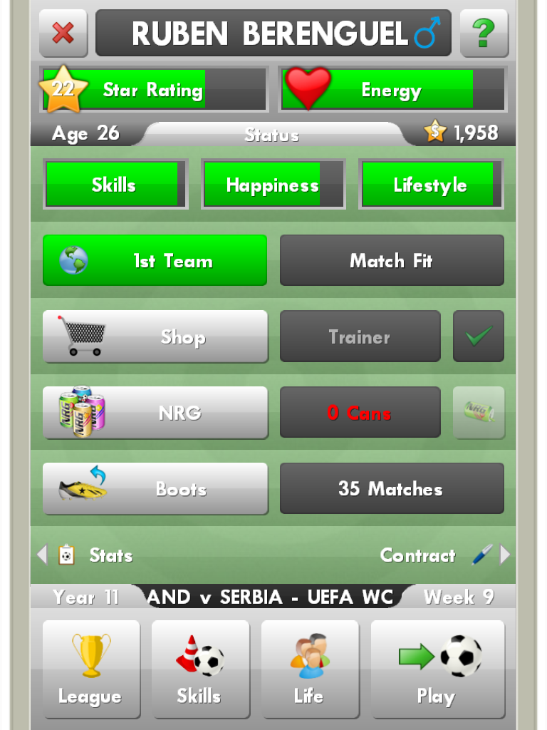 The main window of New Star Soccer