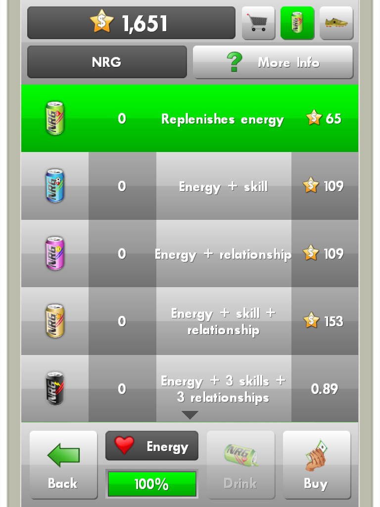 NRG drinks in New Star Soccer