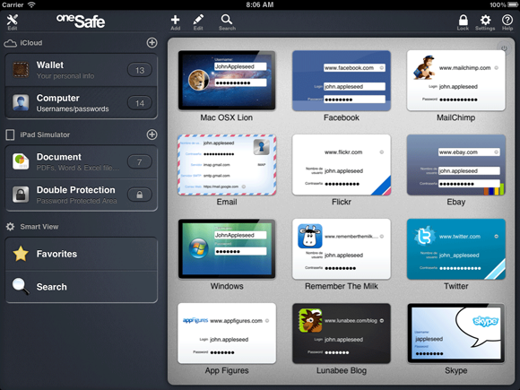 oneSafe for iPad